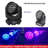 Free Shipping Hot Sales 2Pcs/Lot 19x12W LED Beam Wash Moving Head Light With DMX512 For Professional  Stage Dj Laser Projector|moving head light|led beam|beam wash -