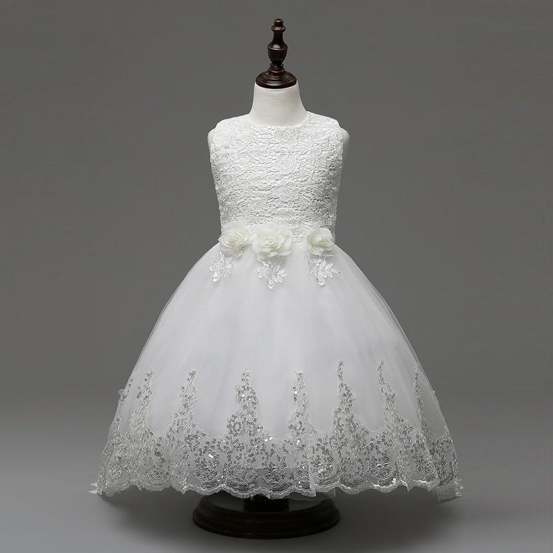 Cute Infant Child Girl Princess Wedding Dress Lace Floral Party Dress  lace Flowers Princess Dress