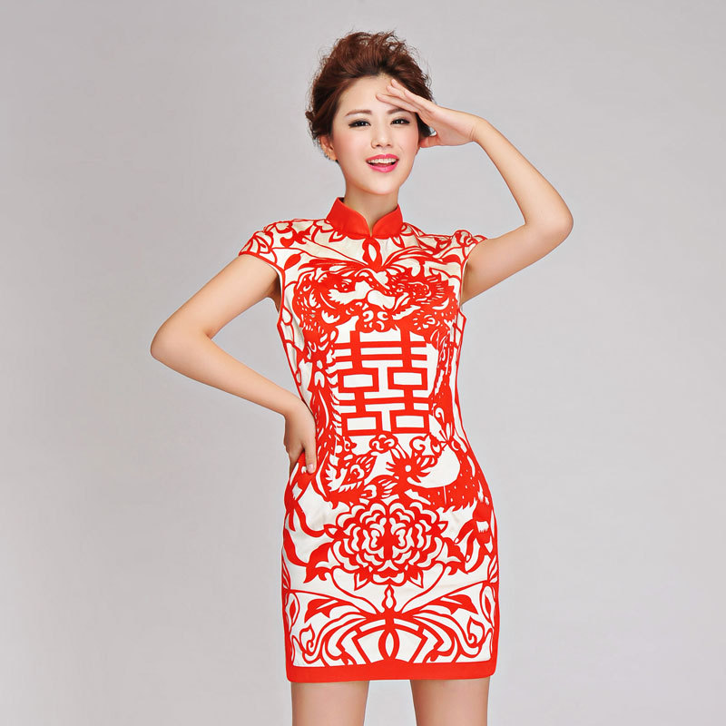 2014 new Fashion personality vintage dress /paper cutting ...
