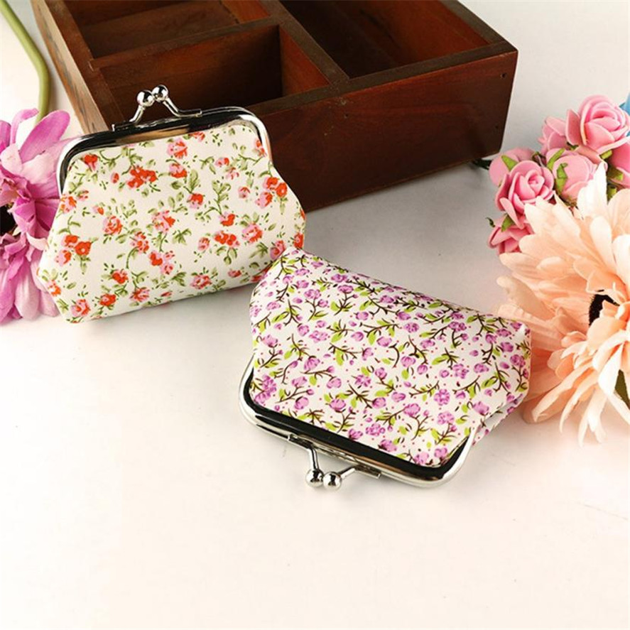 New Portable MINI Coin Purses For girls 1pc Women Lady Retro Vintage Flower Small Wallet Hasp Purse Clutch Bag High Quality