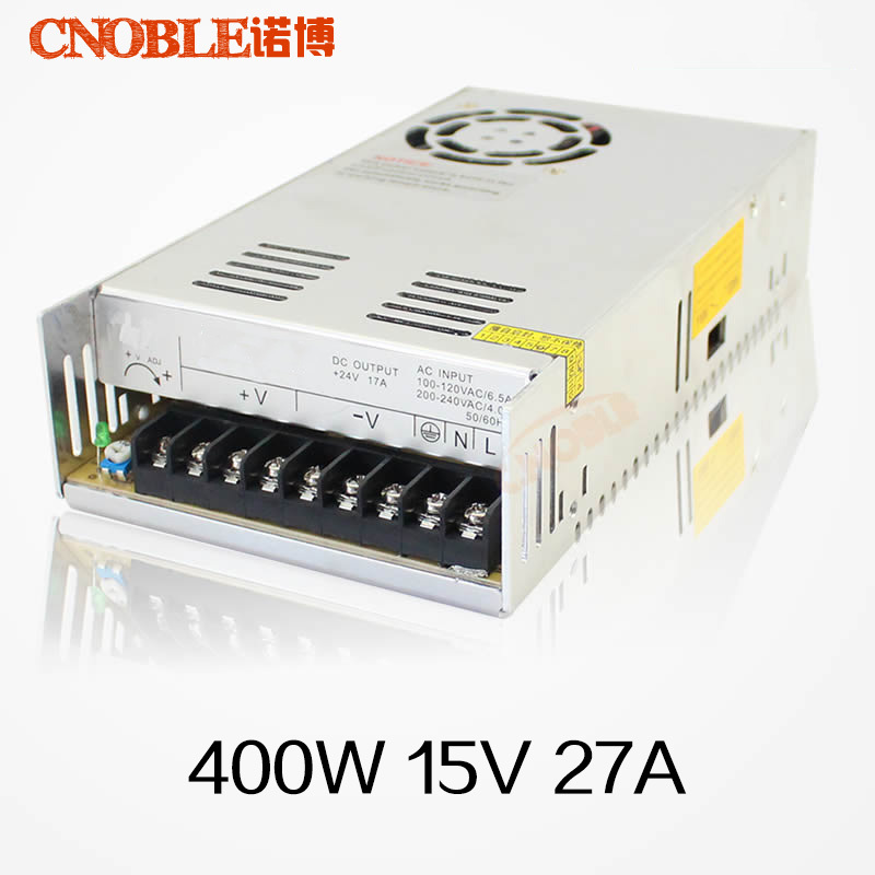 400W 15V 27A Single Output Switching power supply smps AC to DC LED Power Source Driver Free shipping