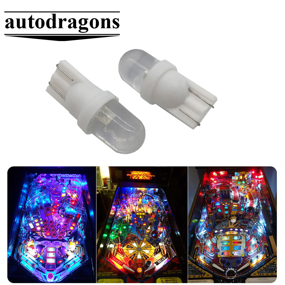 10 Pack Pinball replacement bulb LED 6.3 volt AC 555 clear wedge T10 Cool White