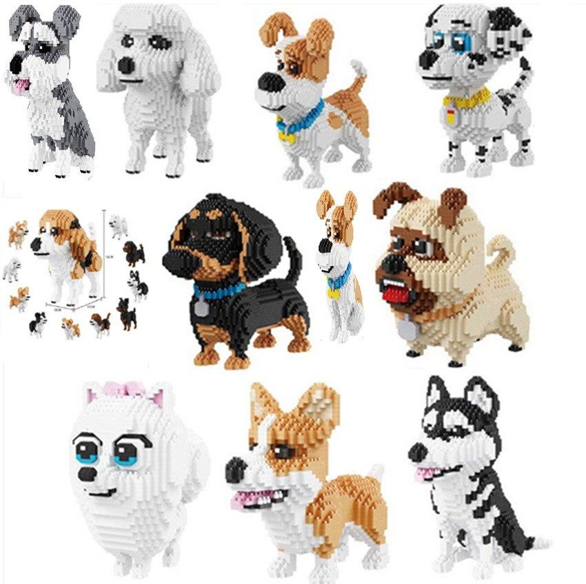 BS Dachshund Black Dog Pet Animal Micro Diamond Mini Building Nano Blocks Toy