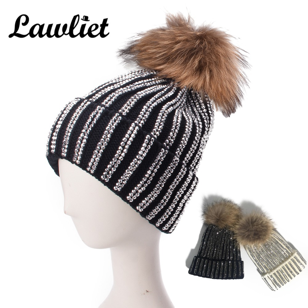 Lawliet Luxury Bling Bling Rhinestones Genuine Fur Pom Pom Hats Winter Cap  Women Ladies Beanies Knitted Hats Warmer Girls Hats 0931bce9d5a