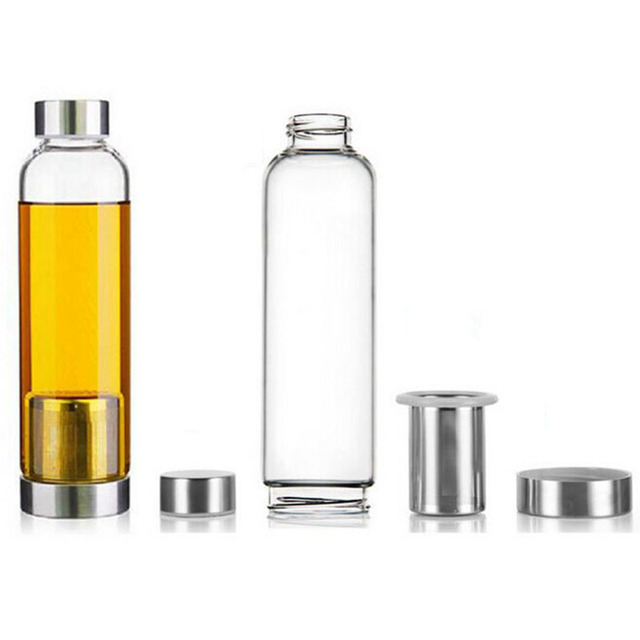 geekoplanet.com - The Best Portable Tea Infuser Glass Travel Bottle 550ML