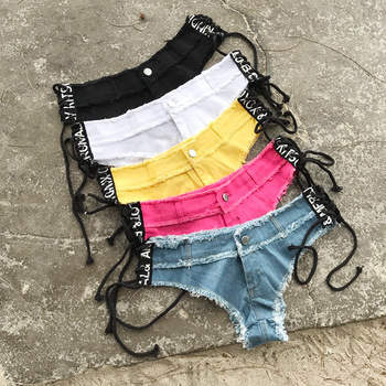5 Colors Sexy Lace Up Pole dance thong shorts Women jeans denim Micro Mini Ultra Low Rise Waist Clubwear cortos mujer DK044S20 10