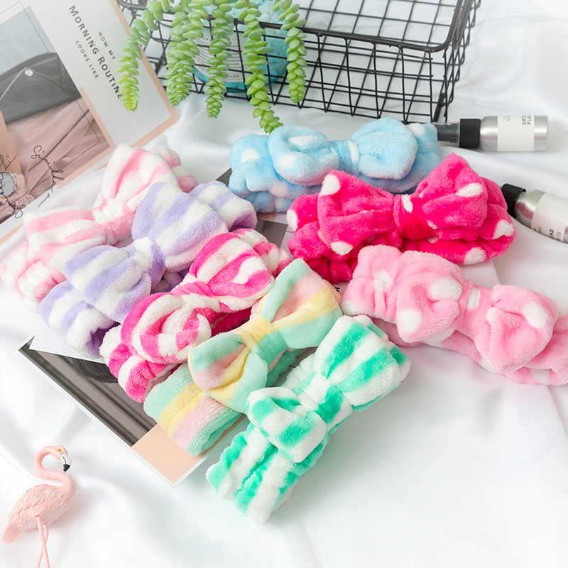Women's Headwear  Butterfly Bow Hair Band Fashion OMG Letters Wash Face Headband Girls Hairbands Coral Fleece Hair Accessories