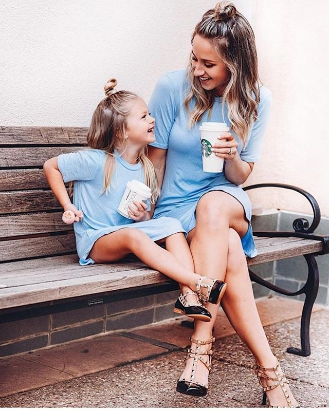 HTB1UV4tKkKWBuNjy1zjq6AOypXal 2019 Summer Mom Daughter Short Sleeve T shirt Dress Family Matching Outfits Baby Kid Women Party Dresses Cotton Clothes Dropship