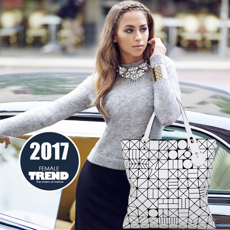 2017 Luxury Brand Handbag Bags High Quality European style Women Hand Bag big laser Geometric totes Bag women