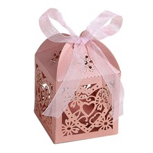Hollow Out Love Heart Laser Cut Paper Candy Boxes Purple pink Gift Bag