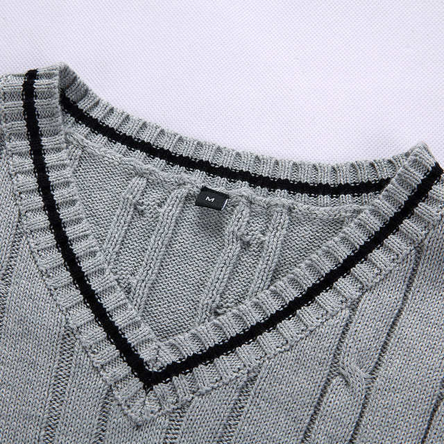 100% Cotton Solid V Neck Casual Male Sweater 4