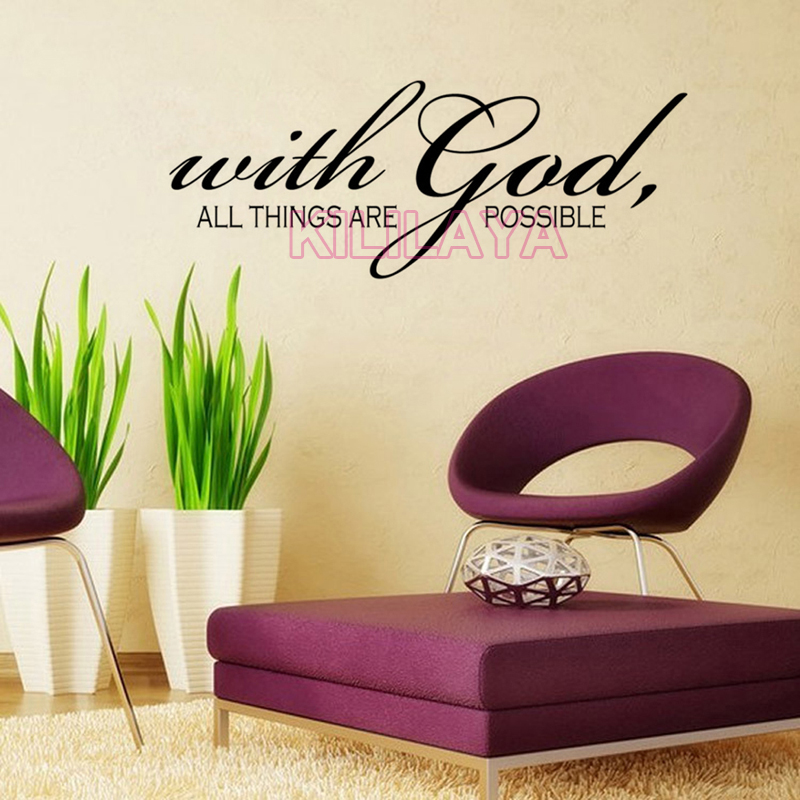 Christian With God All Things Are Possible Vinyl Wall Sticker Decals Religious Art For Living Room Home Decor Stickers From
