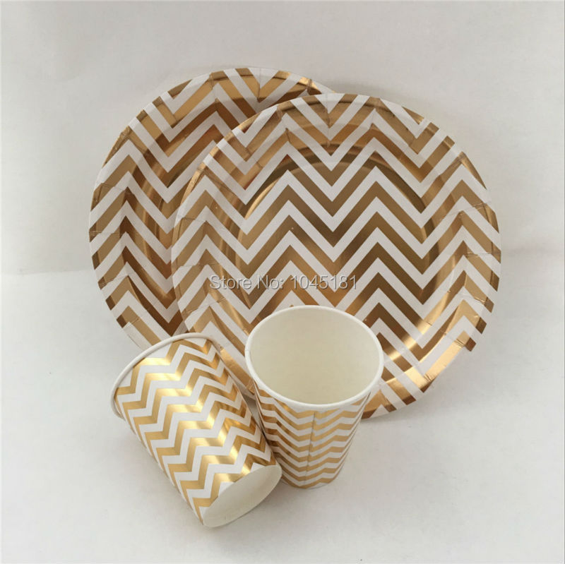 48pcs Metallic Gold/Silver Chevron Disposable Tableware Dessert Cocktail Cups Plates for Tea Party Christmas Decoration Supply-in Disposable Party Tableware ... & 48pcs Metallic Gold/Silver Chevron Disposable Tableware Dessert ...