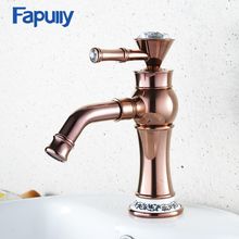 Fapully Sink Bathroom Basin Faucet Diamond Porcelain Decoration Single Handle Mixer Tap Hot And Cold Water 567-11R
