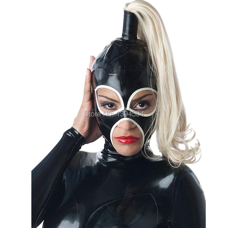 Fait à la main Nouveau Femmes Latex Hottes Avec Une Tresse perruque Personnalisé Fétiche Yeux Ouverts Bouche Masque Héroïne Capot Couvre-chef Zentai