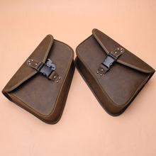 Motorcycle Brown PU Leather Left Right Side Tool Pouch Saddle Bags Universal for Harley Sportster Softail Fatboy Honda Kawasaki