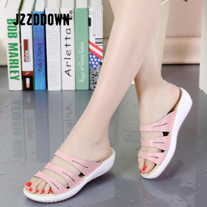 Image 5 - Genuine Leather Womens Beach  Slippers Sandals Flip Flops Shoes Ladies Summer Wedges Casual Female Platform Sandals Shoes