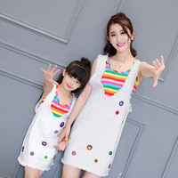 Mother Daughter Sets 2pcs Stripe Spots Dress Mommy and Me Family Matching Outfits Mum Women Mom Girl Clothing Family Look Nice