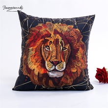 Fuwatacchi Animal Cushion Covers Lion Throw Pillows Cover Pillow Cover for Home Sofa Chair Decorative Pillowcases 2019 New fuwatacchi cute unicorn cushion cover gold stamping throw pillow cover new rainbow christmas decorative pillows for home chair