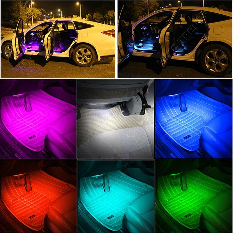 4Pcs Bluetooth APP Control Car RGB LED Strip Lights Car Styling 9 led - Luces del coche - foto 6