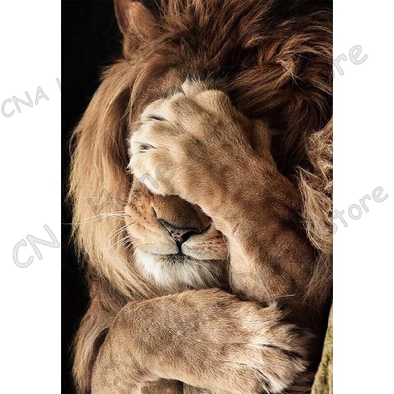 Тваринний лев 5D Diy Алмазна вишивка - Мистецтво, ремесла та шиття