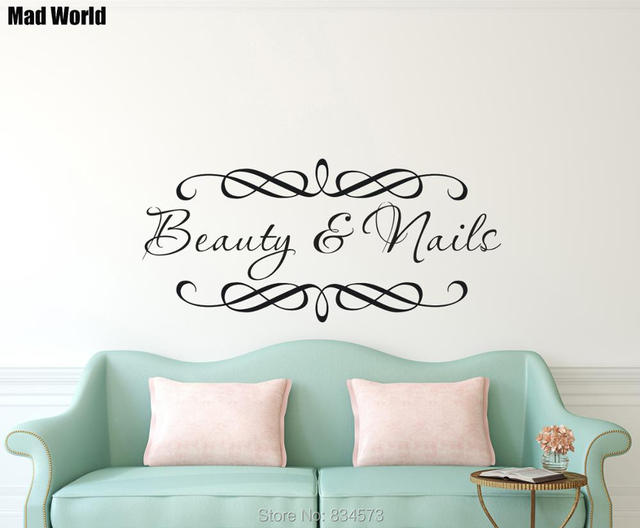 personalised beauty salon spa custom business name wall art sticker