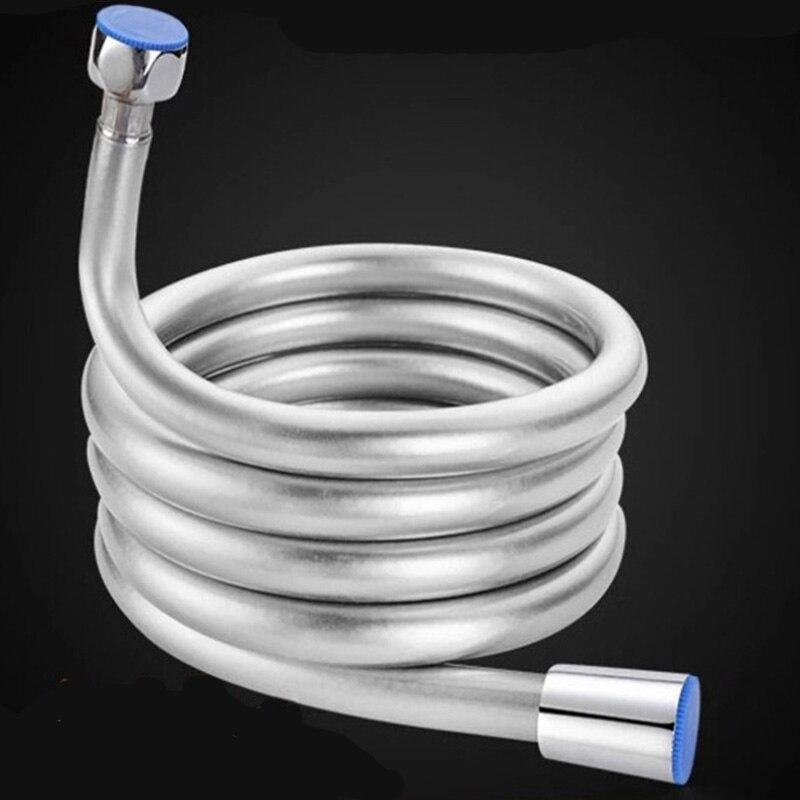 PVC Flexible Shower Hose 1.5m 2m For Bath Handheld Shower Pipe Flexible Shower Hose Silver High Pressure Flexible Accessories