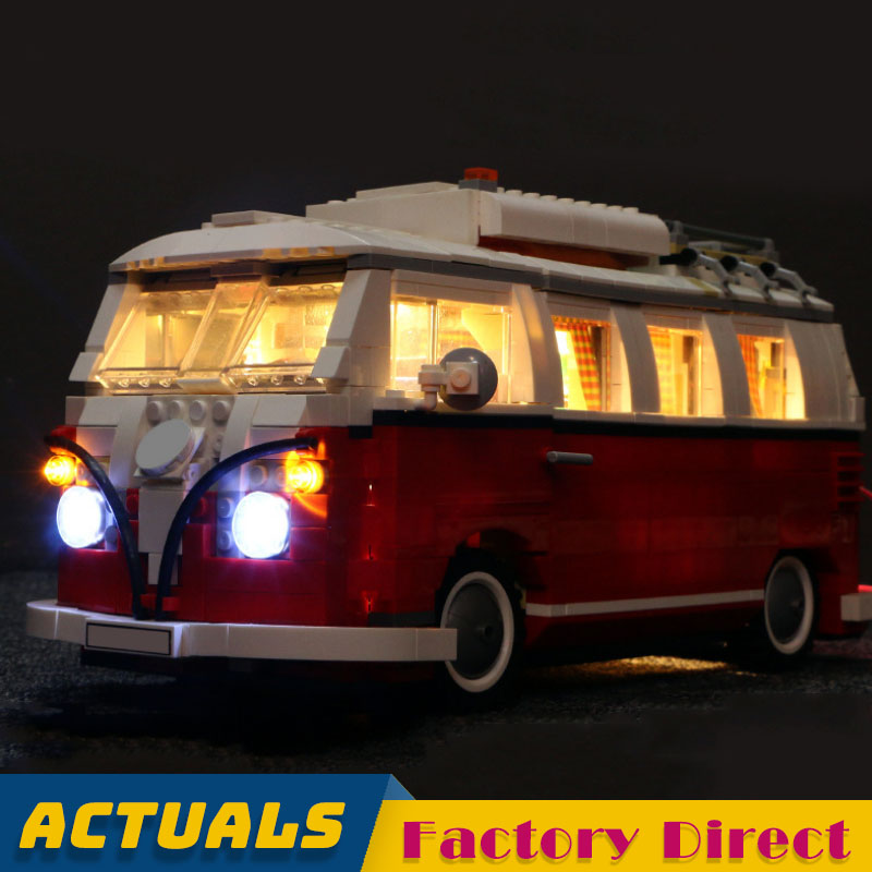 1354pcs Camper Van Creator Expert Series Building Blocks Assembly Car Bricks Toy with LED Light Compatible