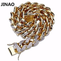 JINAO 2018 New Fashion Copper Gold Color Plated Iced Out Bling CZ Stone 18mm Bracelet Hip Hop Male Jewelry Bracelet Wit 18 22