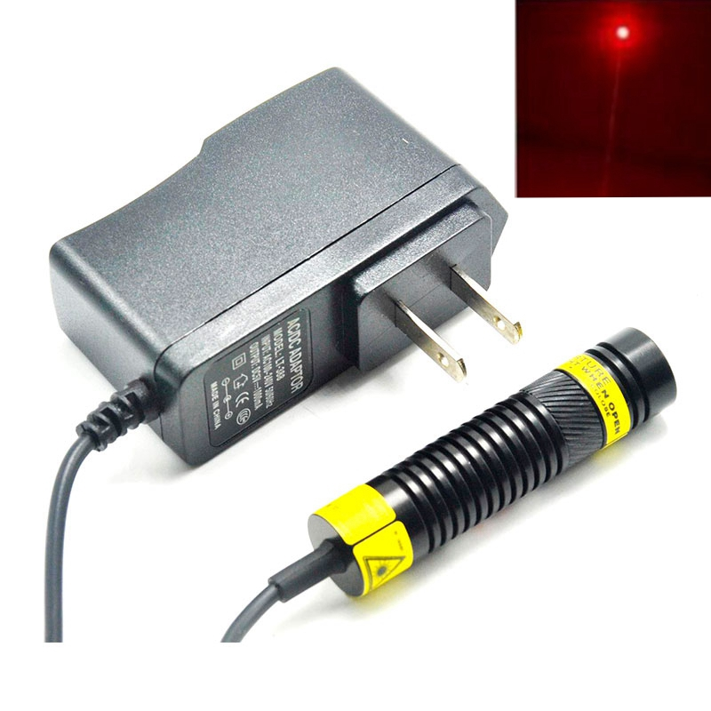 16mm Dia 650nm 200mW Red Laser Module With Dot Collimating Lens Focusable DIY Head Mitsubishi Diode 5V Power Adapter