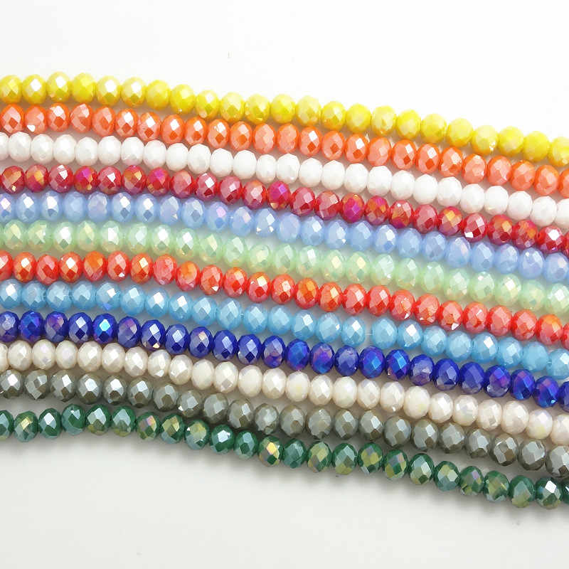 Wholesale 100 Pcs Faceted 4x6mm Clear AB White Crystal Rondelle Loose Beads