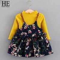HE Hello Enjoy Flower Girl Dress Set Spring Autumn Infant Girl Clothes Long Sleeve Sweater Sling