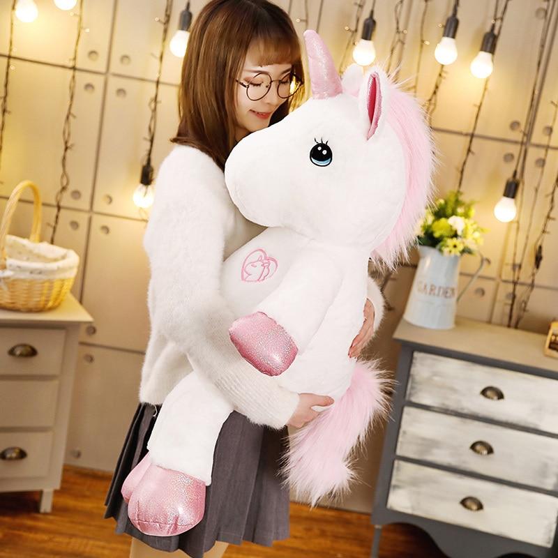 Lovely Giant Unicorn Plush Toy Stuffed Kawaii Soft Horse Dolls For Children Creative Birthday Christmas Gift For Girls Lovers