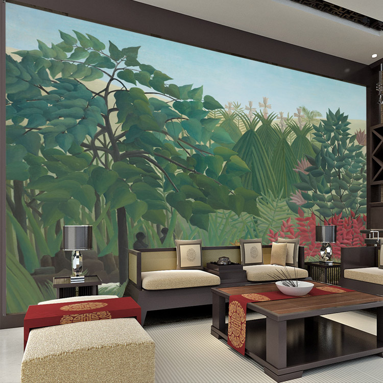 Buy the waterfall wall murals rousseau for 3d interior wall murals