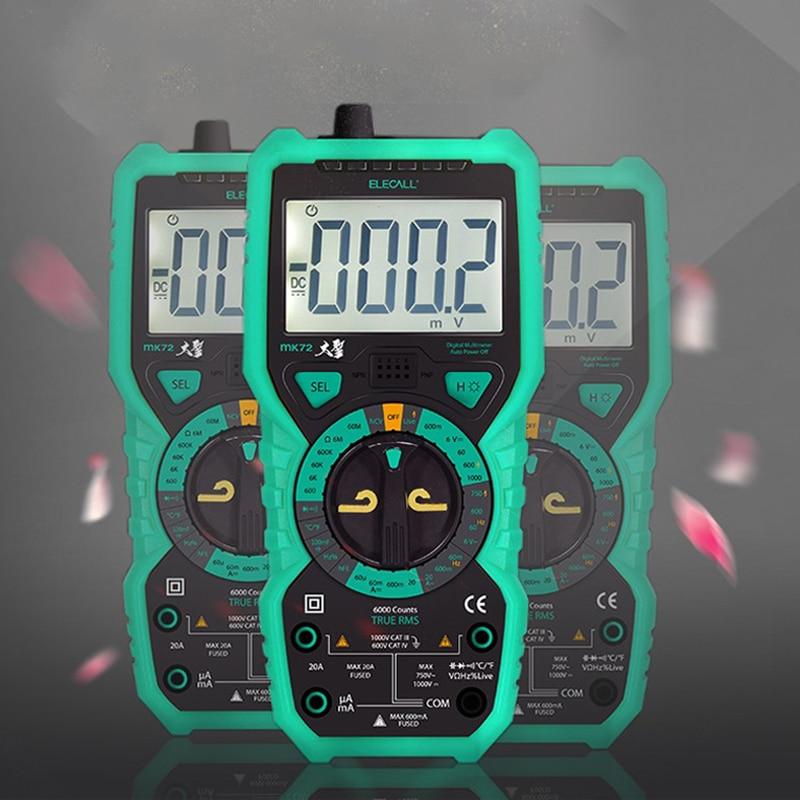 ELECALL MK72 High-Präzision True RMS Digital-Multimeter Test sonden Handheld-Multimeter Temperatur Capacitanc Lcd-hintergrundbeleuchtung