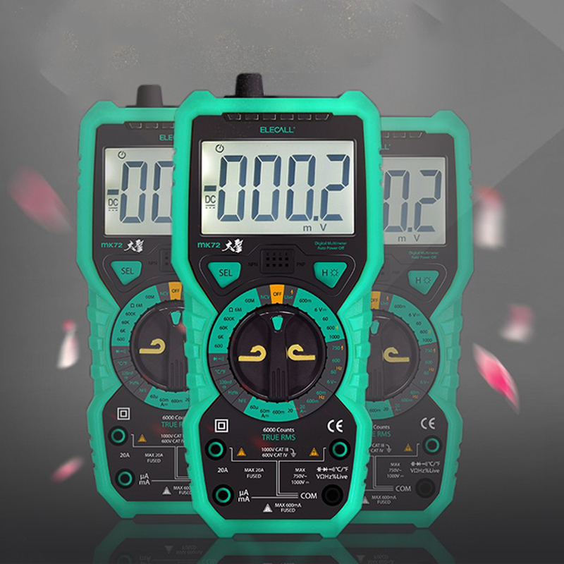 ELECALL MK72 High - Precision True RMS Digital Multimeter Test probes Handheld Multimeter Temperature Capacitanc LCD Backlight minipa et 988 et988 lcd handheld digital thermometer multimeter