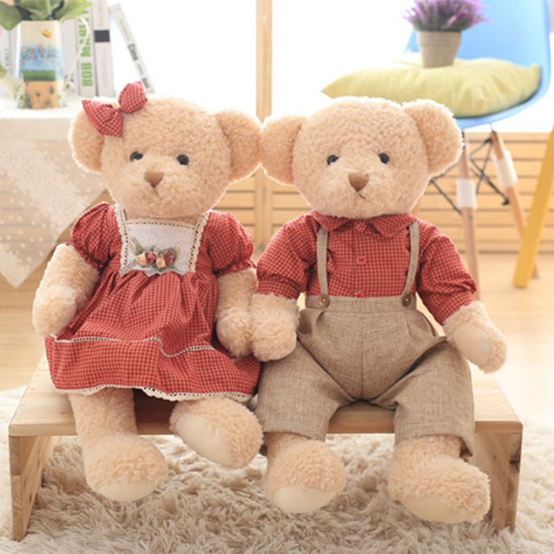 45cm 2pcs/set Couple Teddy Bear Plush Toys Kawaii Stuffed Doll With Plaid Clothe Best Birthday Gift Christmas Gift For Boy Girls
