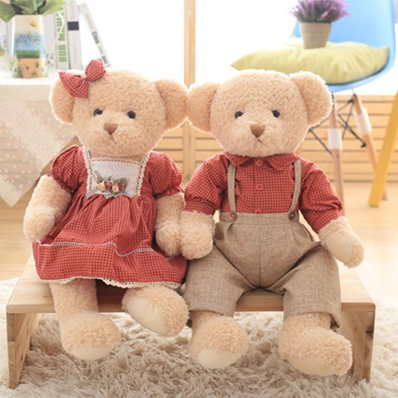 45cm 2pcs/set Couple Teddy Bear Plush Toys Kawaii Stuffed Doll With Plaid Clothe Best Birthday Gift Christmas Gift For Boy Girls
