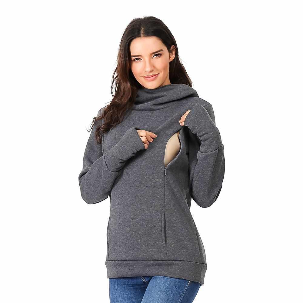 eed41702d42c3 Women's Nursing Hoodie Long Sleeve Zipper Hooded Blouse Casual Top  Maternity Breastfeeding Clothes Sweatshirt Big Pocket