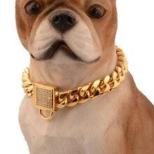 애완 동물 강아지 체인 내구성 두께 골드 스테인레스 훈련 워킹 체인 목걸이 금속 강한 개 애완 동물 가죽 끈 강아지 supplues