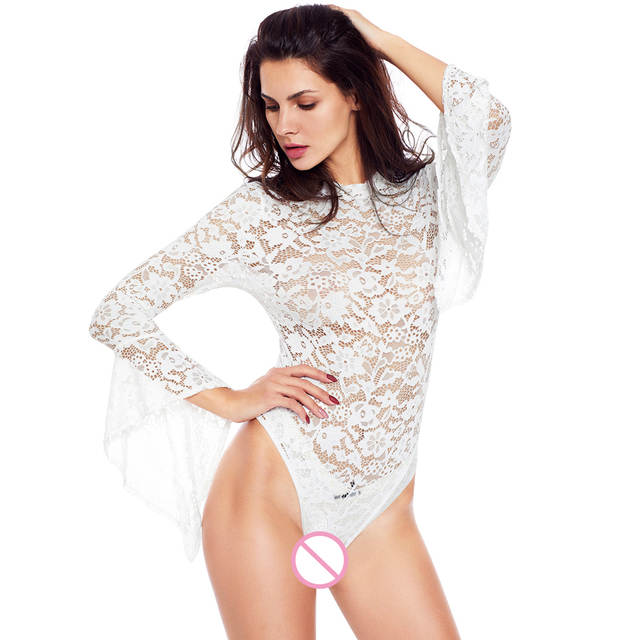 placeholder New Autumn Combinaison Femme Black White Sheer Floral Lace Bell  Sleeve Turtleneck Bodysuit Long Sleeve Body 4b4bae2fe