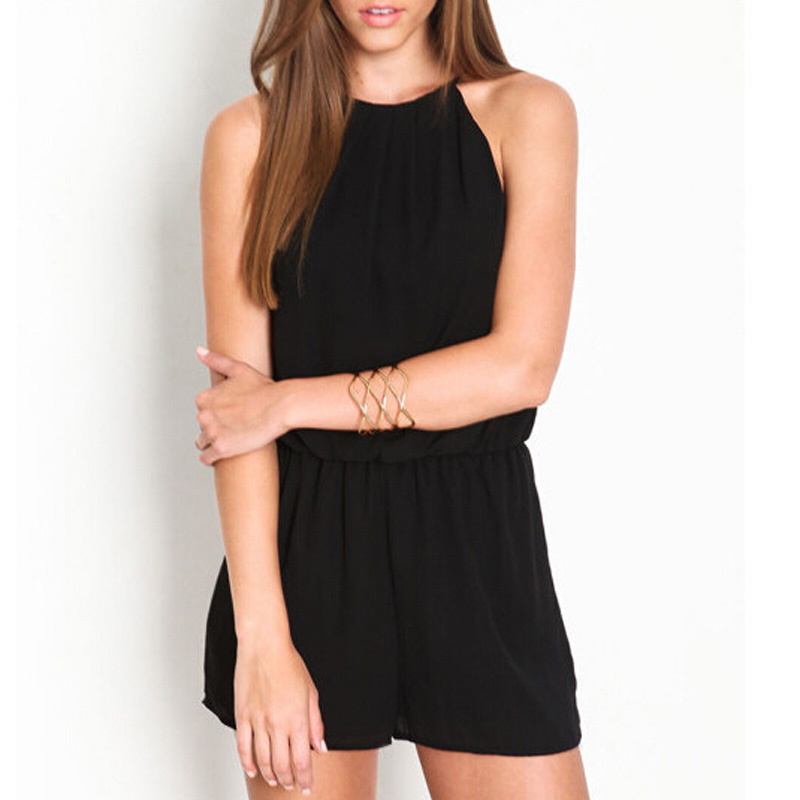 Plus Size Summer 2018 Short Rompers Womens Playsuit Sexy Sleeveless Halter Keyhole Back Playsuit Sleeveless Chiffon Overalls