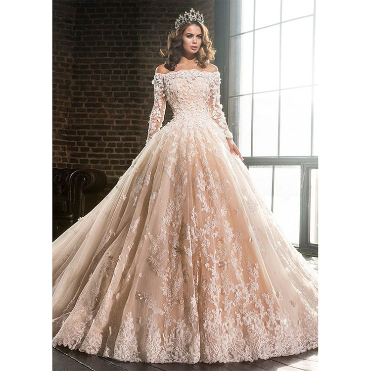 Luxury Muslim Wedding Dress Ball Gown Long Sleeve Off