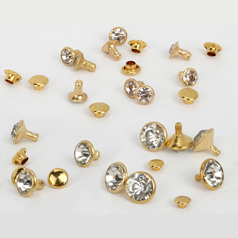 30-100Sets Crystal Rhinestone Trim Rivets Diamante Studs DIY Crafts Clothing Bag Leather Decor Rebite Spikes Glass Drill Nail