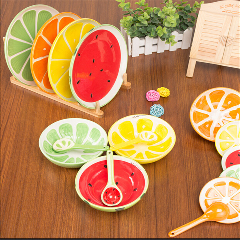 Creative Bowl Lovely Hand Painted Fruit Bowl Plate Spoon