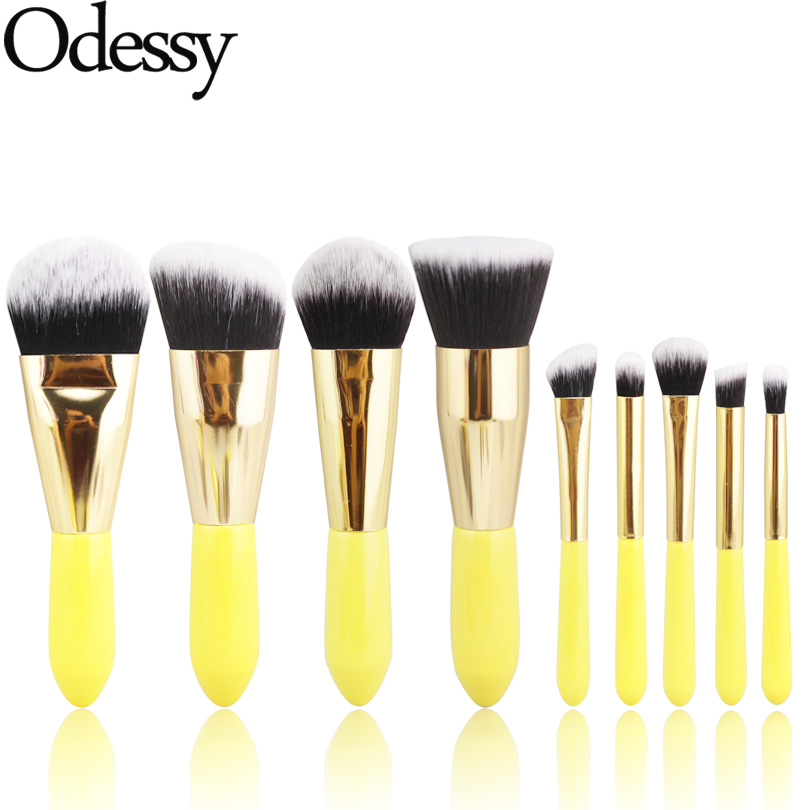 ODESSY Pro 9 Pieces Soft Synthetic Hair Makeup Brushes Yellow wood handle full set cosmetic make up brush for face eye beauty addfavor acrylic handle beauty cosmetic face clean mask brushes eyes skin care make up tools soft makeup synthetic hair brush