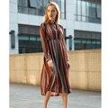 2016 женщин весна мода шифон длинное платье цельный платье