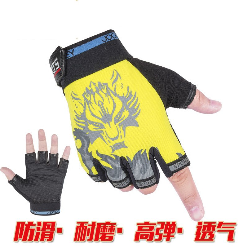 Riding a semi finger gloves, a thin section of sunscreen non slip breathable car car battery car mountain bike equipment mountain bike short finger riding gloves shock absorption and wear resistance riding