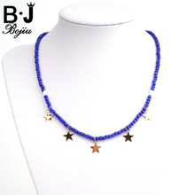 Bojiu Stars Pendant Necklace For Women Seed Bead Exquisite Festival Gifts Young New Jewelry Christmas NKS116