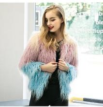 Womens Spell Color Leather Grass Fur Jackets Plus Size Winter Autumn Female Faux Fur Coats Short Section Fur Clothes J1652-8